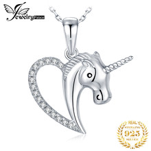 JPalace Unicorn Silver Pendant Necklace 925 Sterling Silver Choker Statement Necklace Women Silver 925 Jewelry Without Chain(China)