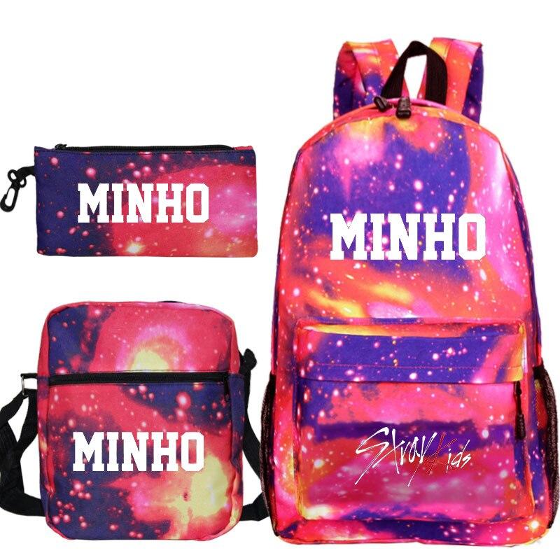 Ensemble trois pièces Kpop stray enfants sac à dos porte-crayon sac à bandoulière grande capacité cartable ciel étoilé motif stray enfants kpop