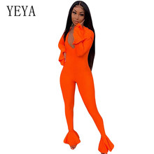 YEYA Solid Rompers Womens Bodycon Jumpsuits Sexy V-neck Ruffles Long Sleevve Elegant Skinny Playsuits Femme Party Club Overalls