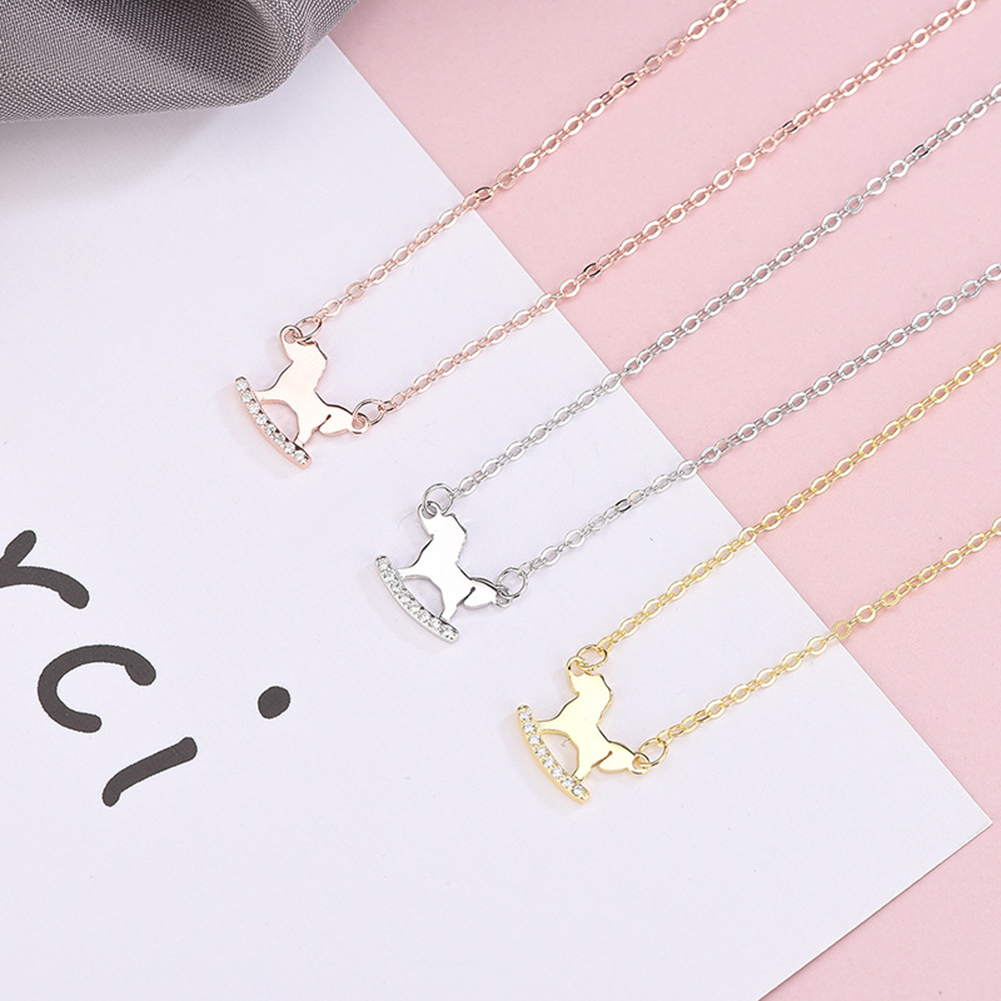 cheap luggage for sale Women Rhinestone Hobbyhorse Pendant Silver Plated Chain Necklace Jewelry diamond choker necklace mens Gift Pendant Chain Necklace Jewelry Gift Pendant for ad black friday deals 2018 electronics Choker Necklaces vs53066540