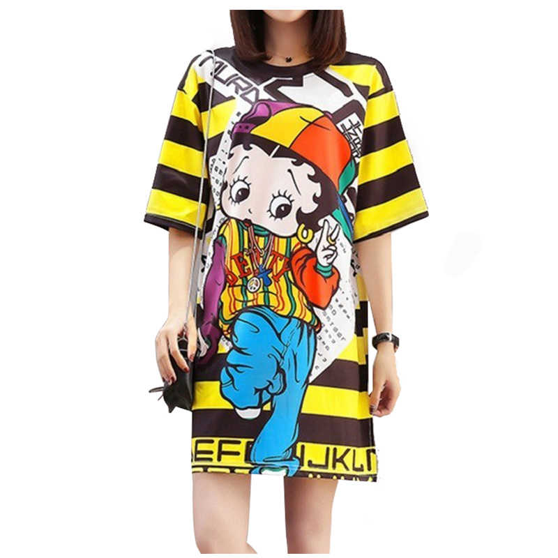 QING MO 6 Styles Women Summer Dress 2019 Printed Doll Yellow Striped Dress T shirt Short Sleeve dress Animal Frog Dog Bear QM068