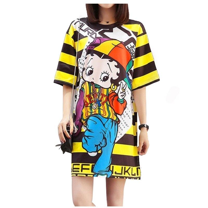 QING MO 6 Estilos Mulheres Vestido do Verão 2019 Impresso Boneca Vestido Listrado T camisa de Manga Curta vestido Amarelo Animal Sapo urso cão QM068