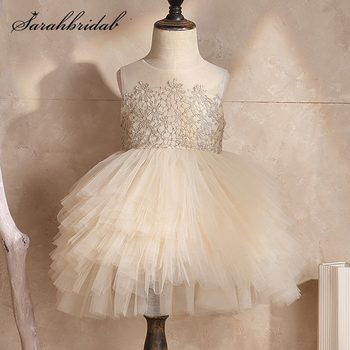 Cute Lace Applique Tulle Flower Girl Dresses for Weddings Party Sleeveless Baby Kids Birthday Party Tulle Ball Gowns Knee Length 2015 elegant a line and knee length flower girl dresses for weddings layered and unique handmade flower design