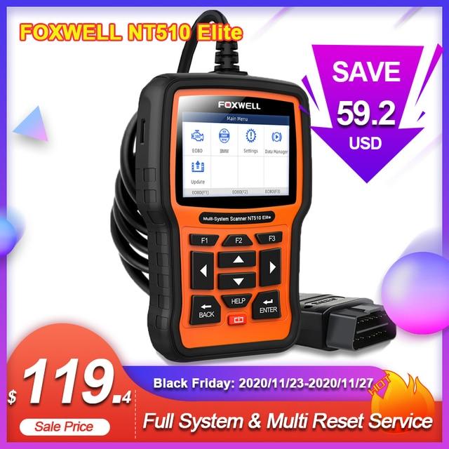FOXWELL NT510 Elite Full System OBD2 Scanner SAS SRS DPF Multi Reset Bi Directional Active Test Code Reader Car Diagnostic Tool