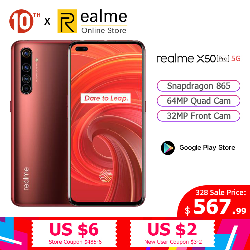 Original Realme X50 Pro 5G Smartphone Snapdragon 865 8GB 128GB Mobile Phone 6.44'' 2400×1080 90Hz 64MP Android 10 65W SuperVOOC
