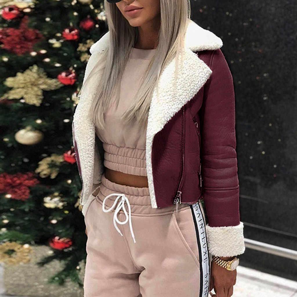 KANCOOLD płaszcze damskie klapa zamszowe skórzane klamry kurtka Faux Lamb wełna motocykl moda nowy płaszcze i kurtki kobiety 2019Sep30