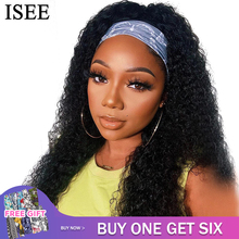 ISEEHAIR Headband Wig Natural Color Kinky Curly Human Hair Wigs Scarf Wig Mongolian Hair Curly Wig Glueless Wig for Women