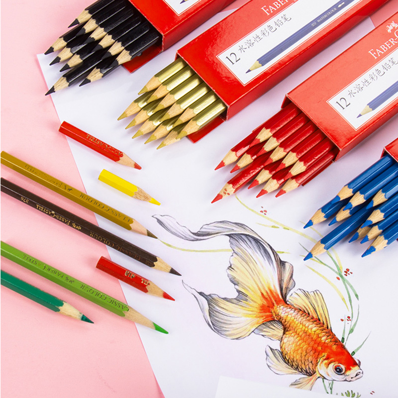 Faber Castell Watercolor Pencil Lapis De Cor Drawing Painting Professional Water Soluble Colored Pencils For Art Supplies