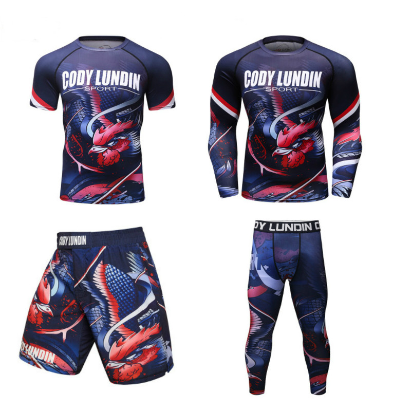 High Quality Men Sportswear Quick-Drying MMA Rashguard Boxing Suit Bjj Jiu Jitsu Muay Thai GYM Fitness Running Boxing Jerseys
