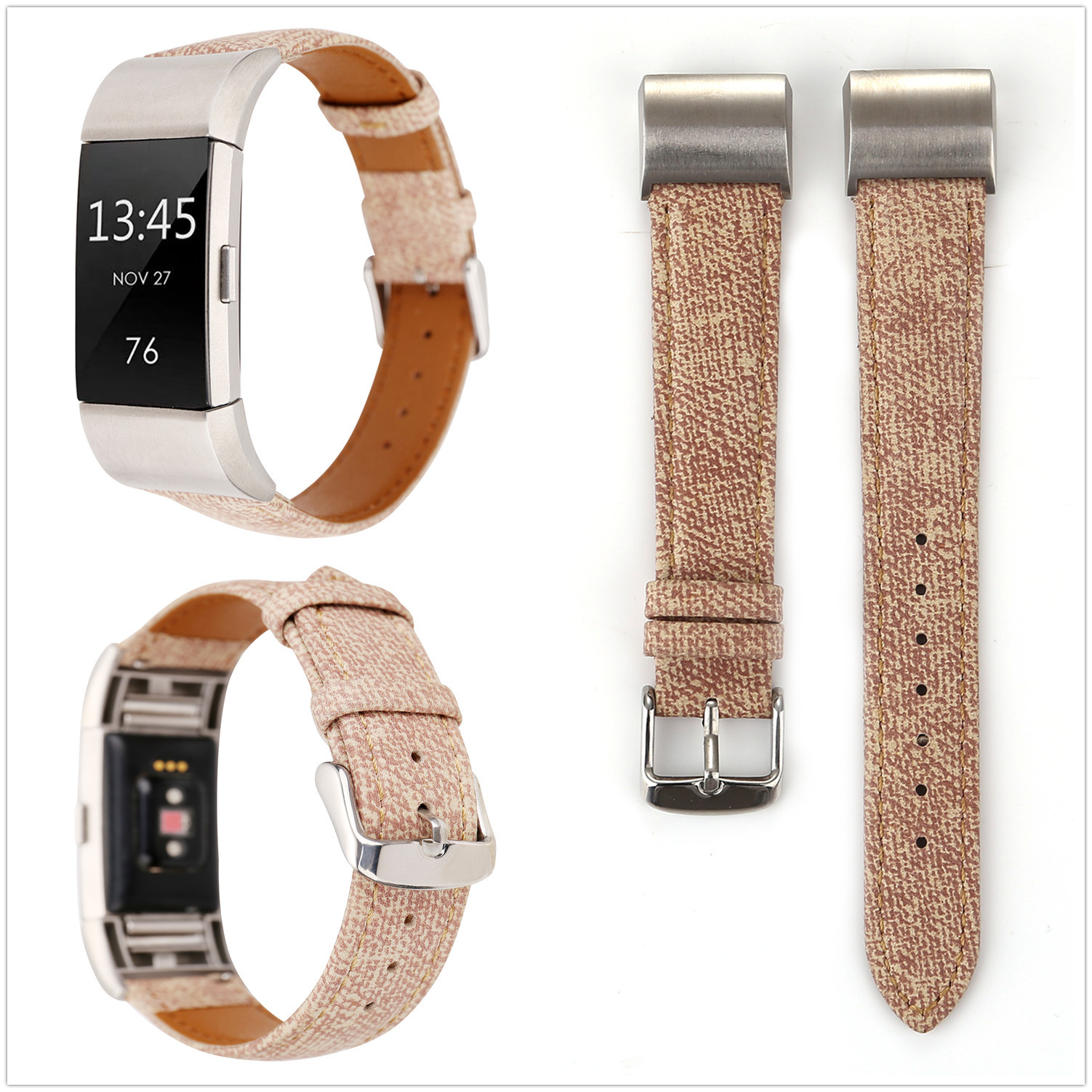Applicable Fitbit Charge2 Leather Watch Strap Smart Wearable Watch Strap Smart Watch Cowboy Pattern Leather Watch Strap