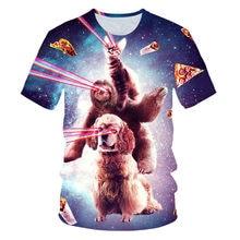 Space 3D camiseta de manga corta con estampado de gato divertido para hombre, ropa con estampado de verano, 2021