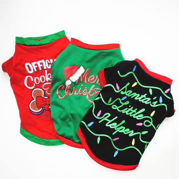 Christmas Dog Clothes Cute Pet Clothes for Small Medium Dogs T-shirt Vest Soft Cat Puppy Pet Clothing Autumn Winter Outfit XS-L image