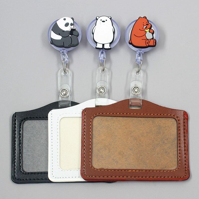 Cartoon Cute Panda Bear Retractable Creative Badge Reel Student Nurse Girl Exhibition Enfermera Name Card Chest Bear Card Holder