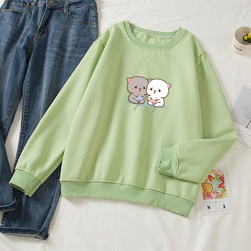 Cute Cat Printed Hoodies Women Autumn Loose Sweatshirt Female Itself Harajuku Kawaii Hooded Pullover Thicken Couple Coat 18