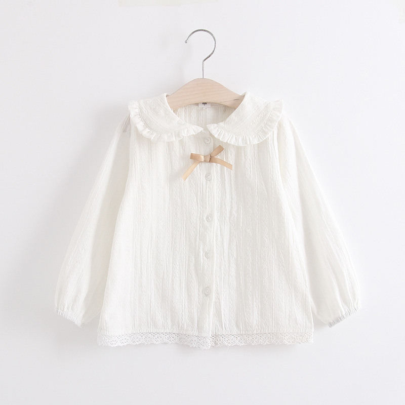 Girl'S Shirt Spring 2018 Girls White Shirt CHILDREN'S Shirt Pure Cotton GIRL'S Shirt Childrenswear