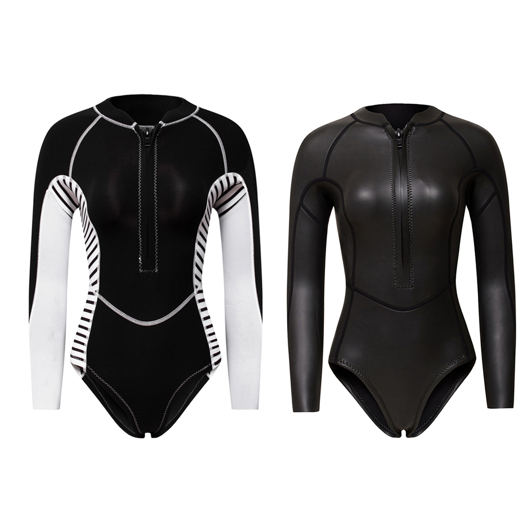 2MM néoprène combinaison femmes une pièce à manches longues plongée sous-marine combinaison humide maillot de bain