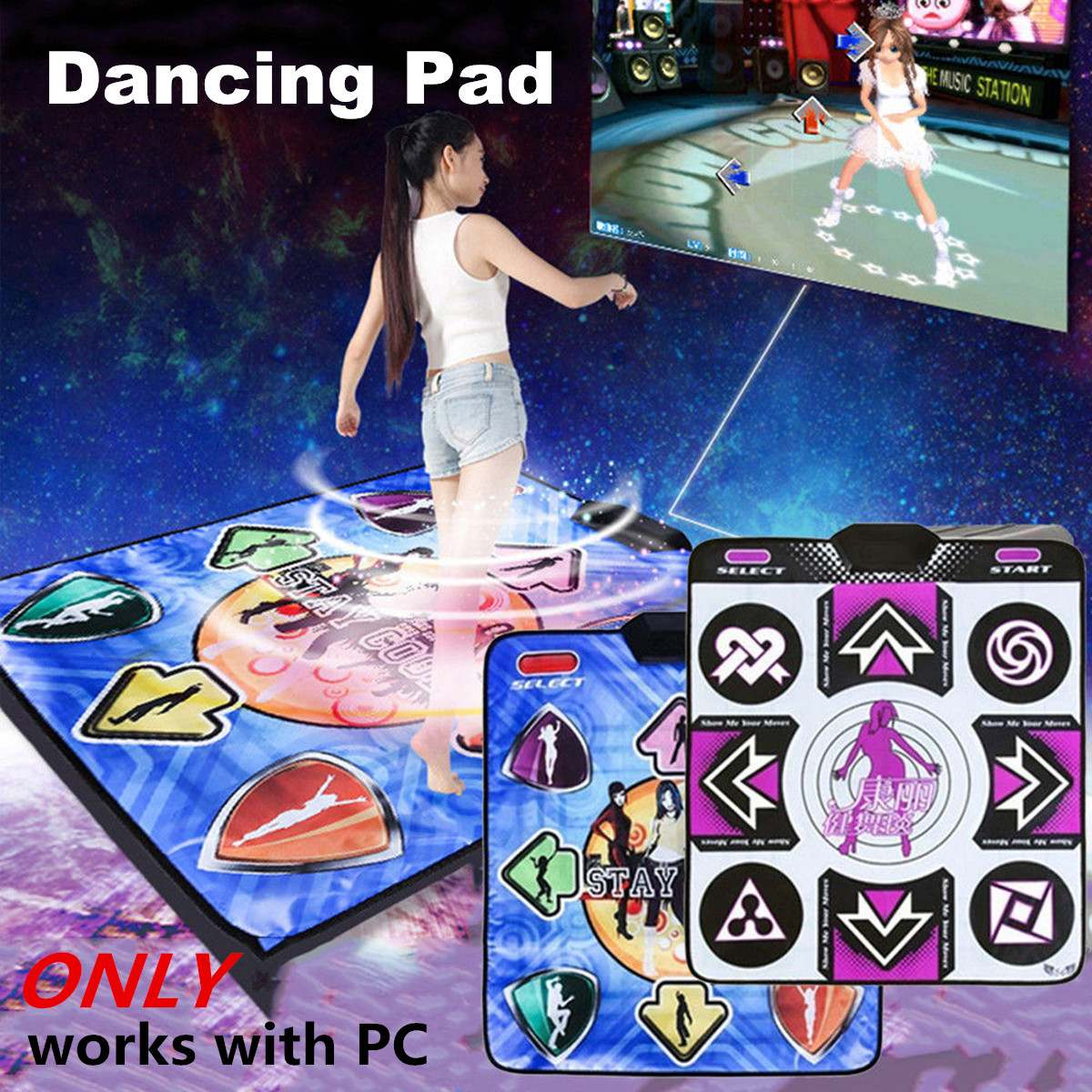 USB Non-Slip Hot Beat Dancing Step Pad Yoga Mat Video Party Game PC Wireless Dance Pad Video Party Game Fun Mat Single Dance Pad image