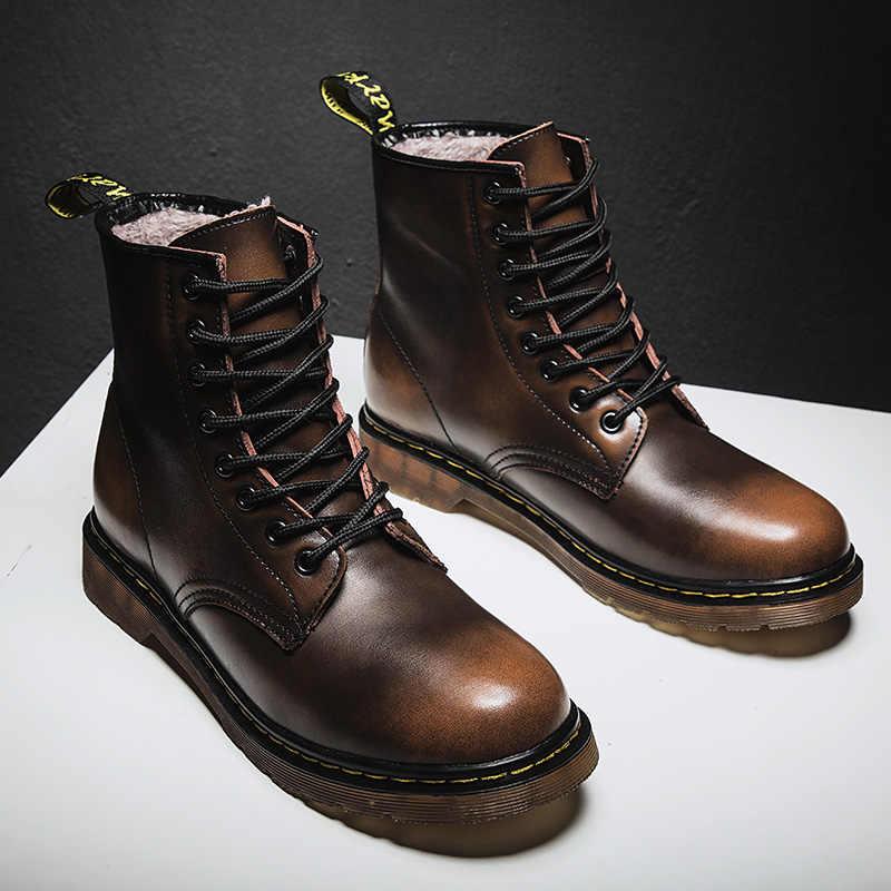 Coturno Mannen Martin Lederen schoenen Hoge Top Fashion Winter Warm Sneeuw schoenen Dr Motorfiets Enkellaars Paar Unisex Doc laarzen