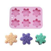 6-Piece Silicone Mold Different Patterns Christmas Snowflake Oriental Cherry Shaped Cake DIY Handmade Soap