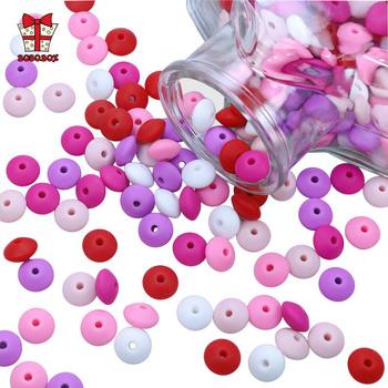 BOBO BOX 50 sztuk silikonowe koraliki soczewicy 12mm Food Grade silikonowe dziecko ząbkowanie produkty żuć łańcuszek smoczka klipy dziecko gryzaki tanie i dobre opinie Pojedyncze załadowany Teether CN (pochodzenie) Lateksu Nitrosamine darmo Ftalanów BPA za darmo 4 miesięcy Lentil Beads