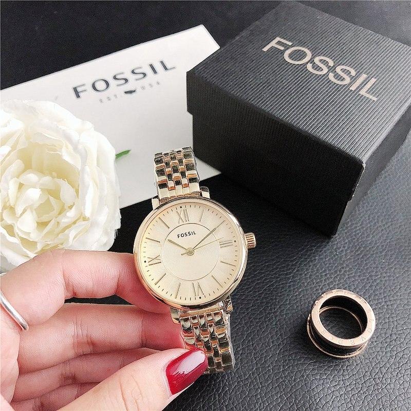 Fossil-quartzo pulso vestido feminino relógios pulseira de prata relógio de senhoras relógio de aço inoxidável relógio casual
