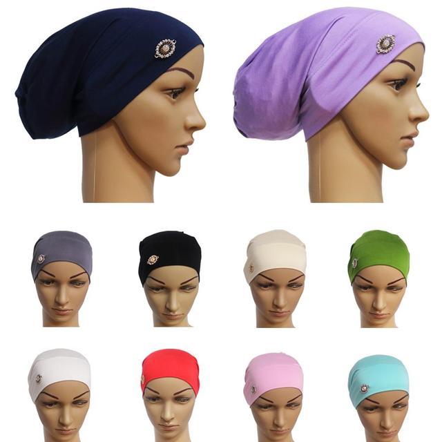 Rhinestone ภายใต้ผ้าพันคอผู้หญิงมุสลิม Bonnet Turban หมวกอิสลาม Headscarf อาหรับ Hijab หมวกหมวก Headwear Underscarf หมวก