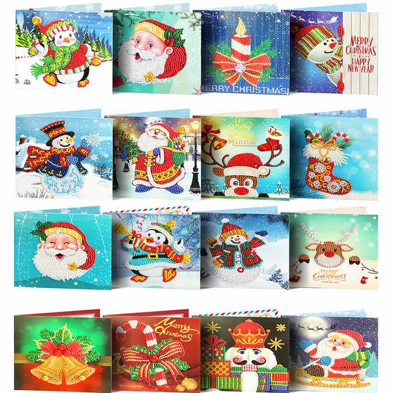 5D Diamond Painting Cards Merry Christmas Cartoon Santa Claus Birthday DIY Gift