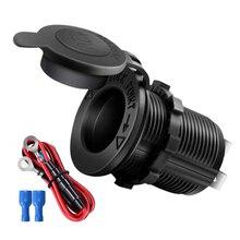 Sigarettenaansteker 12V-24V Waterdichte Plug Power Outlet Adapter Voor Marine Boot Motorfiets Truck Rv atv Met Draad D5
