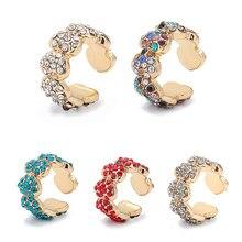 Multicolor C-Form Keine Durchbohrten Kleine Ohrring für Frauen Kristall Hohl Ohr Manschette Ohrring Braut Hochzeit Ohr Clip Schmuck earcuffs