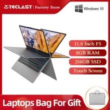 """Ordenador portátil con pantalla táctil Teclast F5, Intel, 8GB RAM, 256GB, SSD, 1920x1080 Windows10, carga rápida, pantalla táctil giratoria 360 de 11,6""""Ordenadores portátiles"""