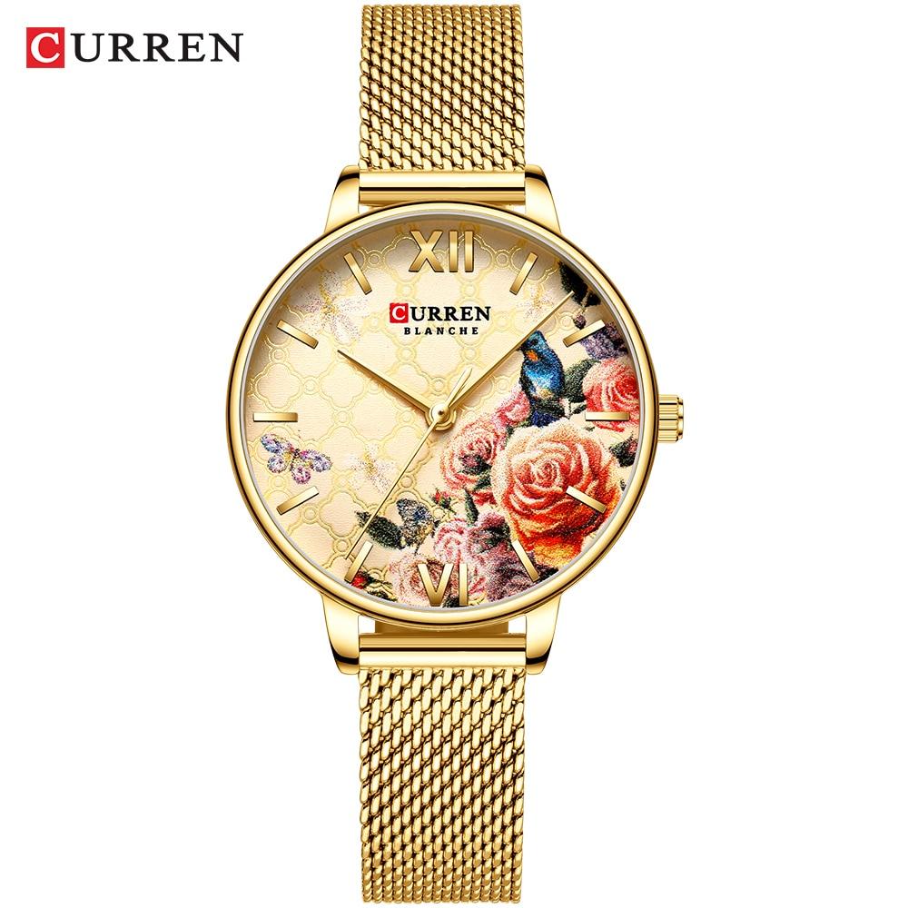 CURREN Beautiful Flower Design Watches Women Fashion Casual Leather Wristwatch Ladies Watch Female Clock Women's Quartz Watch 12