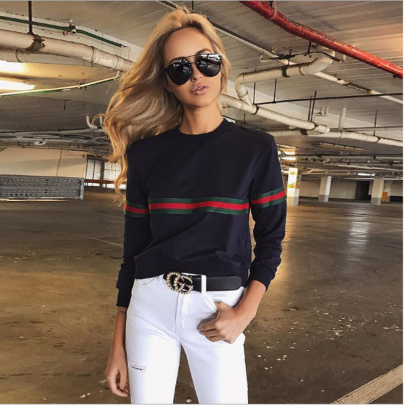 2019 Autumn Fashion Women Pullovers Hoodies Pacthwork Stripe Long Sleeve White Black  Loose Sweatershirts Casual Winter Femme