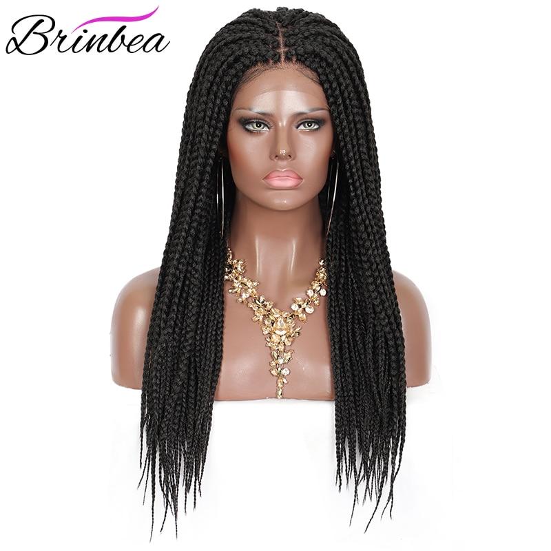 Brinbea 24 Polegada perucas trançadas do cabelo sintético para as mulheres caixa preta tranças de cabelo com cabelo do bebê 4x4 frente do laço natural dividir perucas