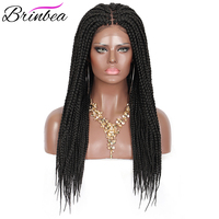 Brinbea 24 Inch Synthetic Hair Braided Wigs For Women Black Box Braids Hair with Baby Hair 4X4 Lace Front Natural Split Wigs