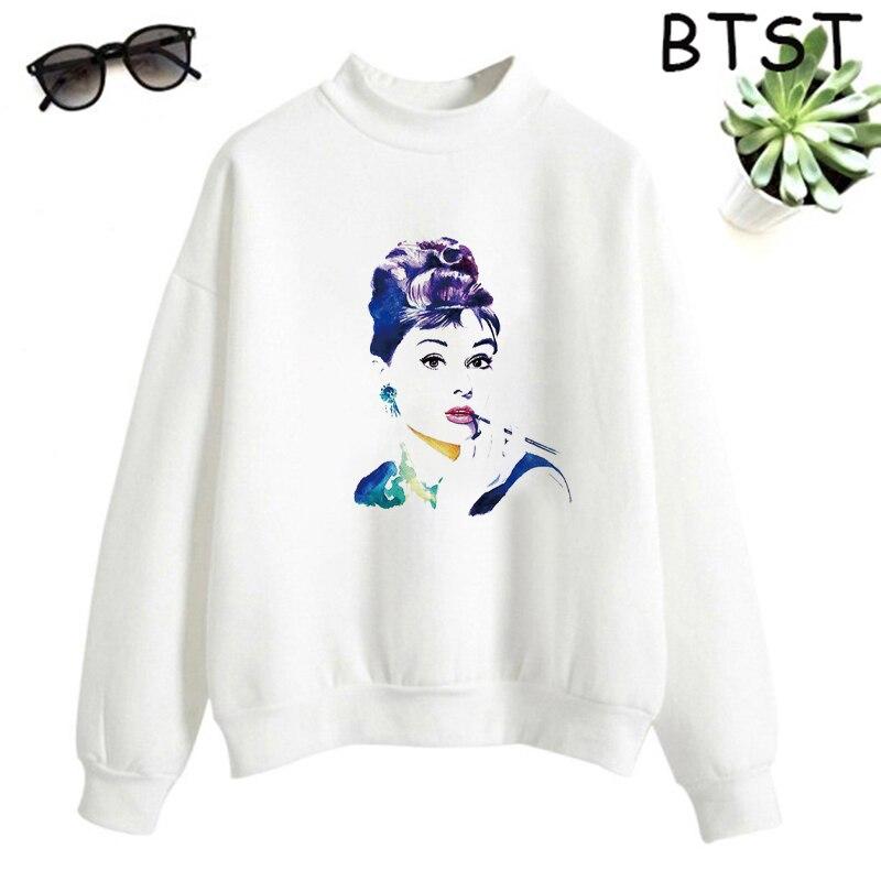 Audrey Hepburn Pink Bubble Kpop Clothes Polyester White Sweatshirt Pullovers Women Sweatshirt Japanese Gothic Harajuku Shirt 15