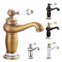 European copper basin faucet brass cold and hot double open basin mixed faucet porcelain Faucet Single Handle