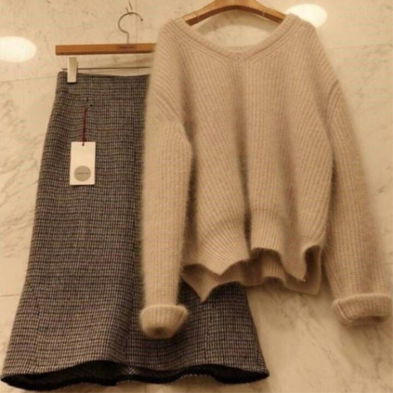 Large Size Dress Fat Mm Autumn And Winter New Style Online Celebrity Laziness-Style Loose-Fit Pullover Thick Sweater Skirt Two-P
