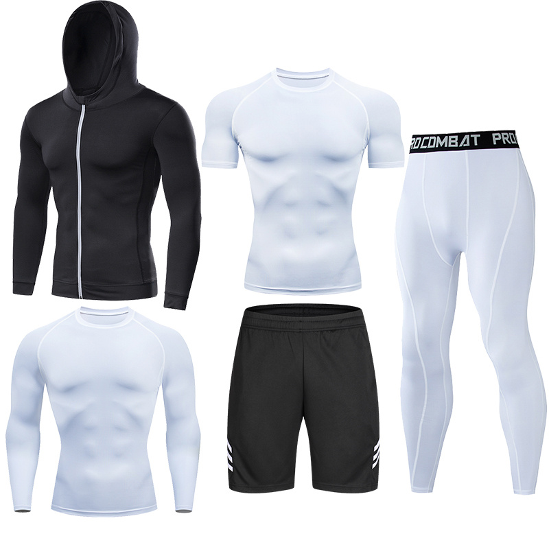 Men's Compression Running Set Tight Legging Shirt Pant Long Sleeves Sport Clothing Teenager Tracksuit Suit Man Sportwear Dry Fit