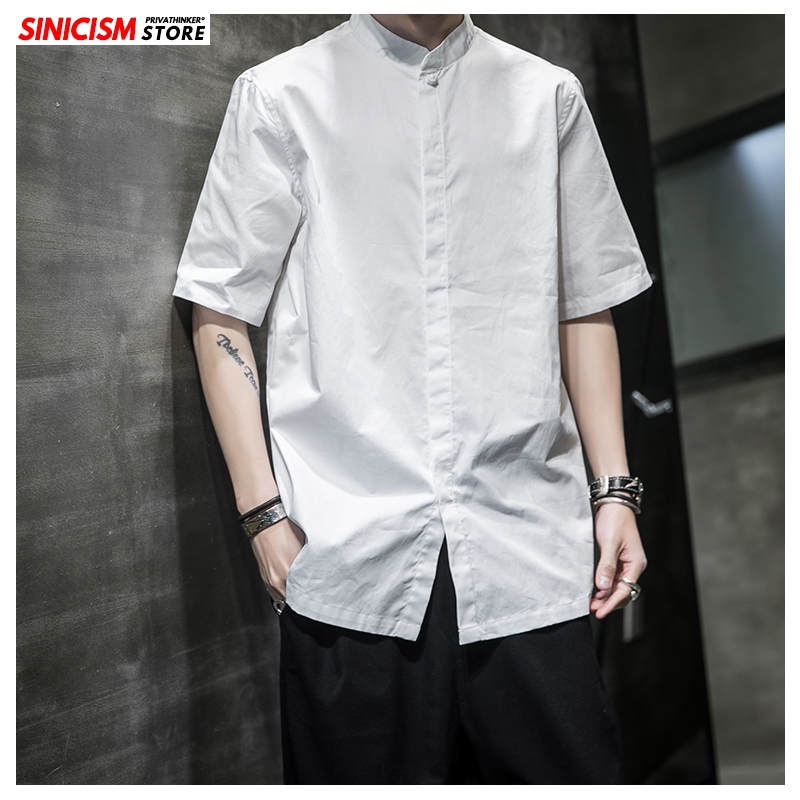 Sinicism Store Men Solid Casual Linen Shirts 2020 Mens Short Sleeve Vintage Shirt Chinese Style Summer Male Clothing Oversize