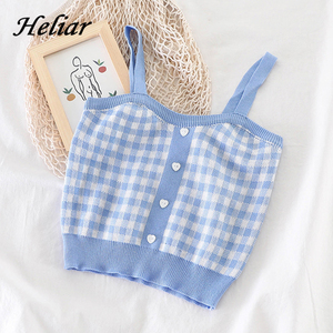 HELIAR Tops Women Plaid Crop Tops With Buttons Sexy Bare Midriff Knitted Tops Women Sleeveless Summer Cute Crop Tops For Women