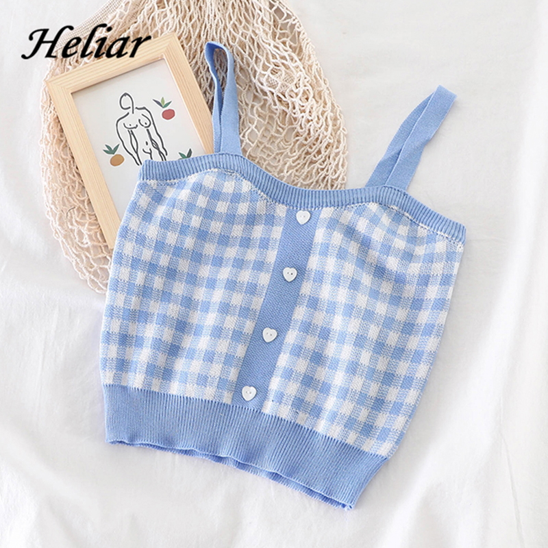 HELIAR Frauen Plaid Crop Tops Ärmelloses Strick Crop Tops Weibliche Taste Up Straps Camisoles Nette Tops Für Frauen 2021 Sommer