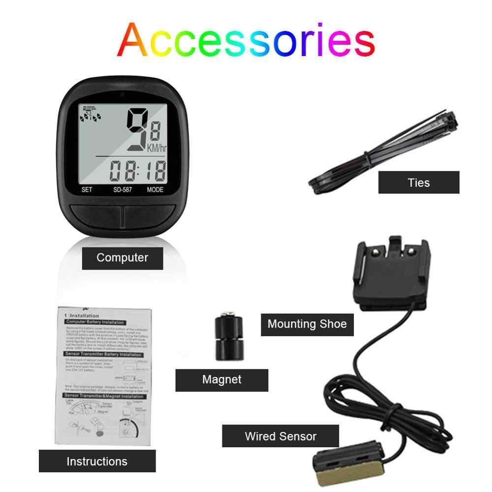 MTB Road Bikeจักรยานคอมพิวเตอร์จักรยานSpeedometerไร้สายกันน้ำนาฬิกาจับเวลาวัดระยะทางLCD Backlightสีดำ