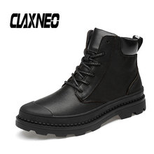 Buy CLAXNEO Man High Boots Genuine Leather Autumn Male Leather Shoes Mens Winter Boot Plush Fur Warm Snow Shoe Big Size directly from merchant!