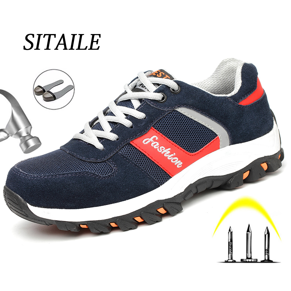 SITAILE Breathable Work Shoes Men And Women Steel Toe Safety Boots Indestructible Safety Shoes Puncture Proof Men Shoes