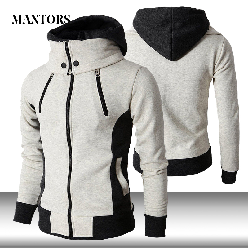 Men Zipper Hoodies Casual Fleece Autumn Winter New Solid Hooded Sweatshirt Tracksuit Scarf Collar Hooded Male Fitness Hoody Coat
