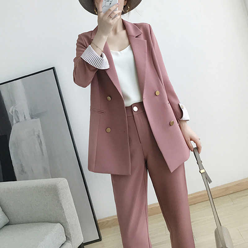 Women S Suits 2021 Autumn New Women S Temperament Double Breasted Pink Large Size Suit Jacket Casual Feet Pants Set Two Piece Pant Suits Aliexpress