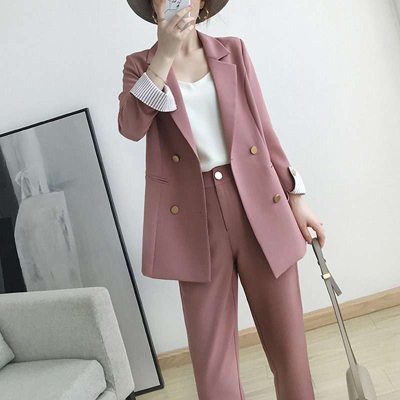 Women's suits 2019 autumn new women's temperament double breasted pink large size suit jacket casual feet pants set two piece