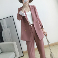 Women's suits 2019 autumn new women's temperament double-breasted pink large siz