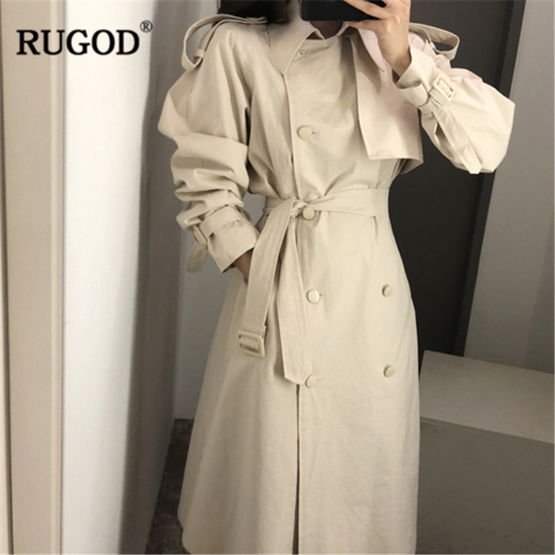 RUGOD 2019 New Women Chic Temperament Trench Double-breasted Sash Loose Strap Long Coat British High Street Autumn Winter Coat