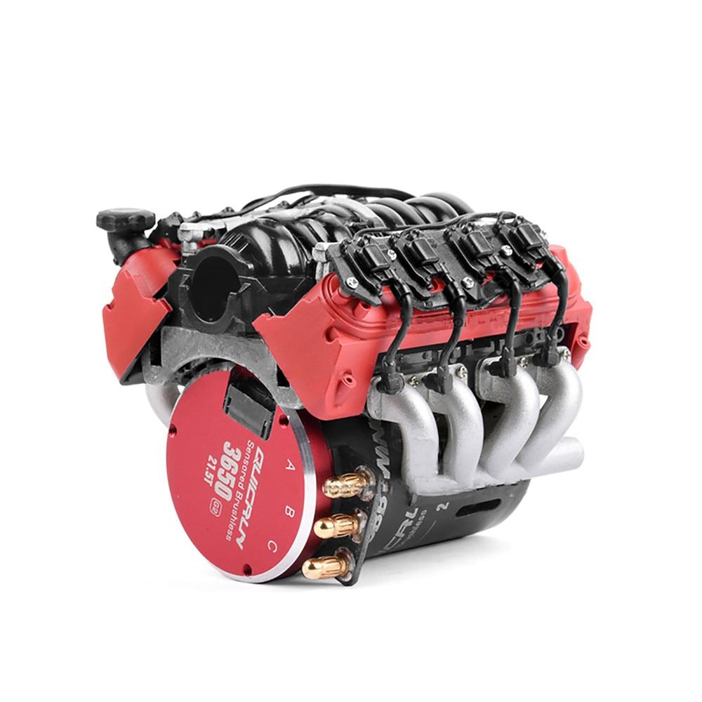 LS7 V8 Electric Engine Motor Radiator Dual Cooler For 1/10 TRX4 Defender SCX10 RC Crawler Car Parts Cooling Fan